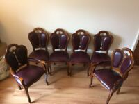 Louis Antique style soft Leather Italian Dining Chairs x 6 including 2 Carvers