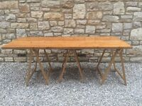 SOLID HEAVY RUSTIC PINE 2 meter x 76.5cm TABLE TOP REMOVABLE LEGS- SHABBY CHIC