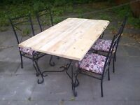 TABLE 4 CHAIRS RUSTIC WITH RECLAIMED TOP SHABBY CHIC