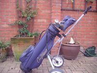 Set of golf clubs with many extras