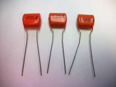 Lot Of 3 - Sprague Orange Drop Capacitors - .22uf 100vdc 10 - 225px