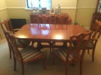 Period piece dining table and 6 chairs