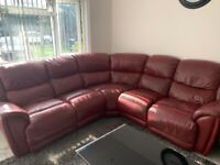 HARVEY GENUINE LEATHER RED BURGUNDY RECLINER CORNER SOFA AND TWO SEATER SOFA
