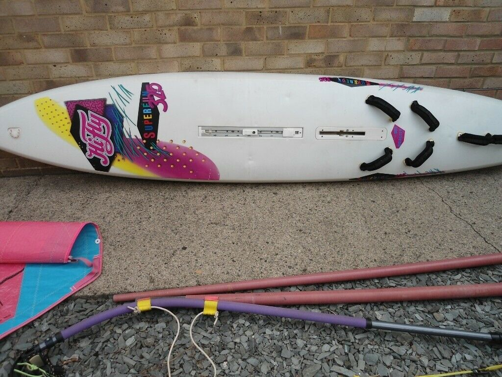 Hi Fly Superfun Sailboard with split mast, boom, daggerboard and sail | in  Guisborough, North Yorkshire | Gumtree