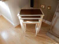 Shabby Chic Solid Wood Nest of 3 Tables