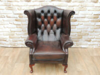 Brown High back chair Chesterfield (Delivery)