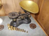Vintage scales and brass weights £20