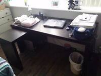 Desk/Computer/PC Table - with pull-out panel + Drawer FREE (IKEA - MALM and LENNART)- GOOD CONDITION