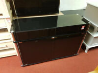 matrix black glass sideboard