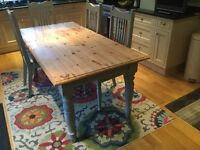 Solid pine table 6 x 3 and 4 solid oak chairs