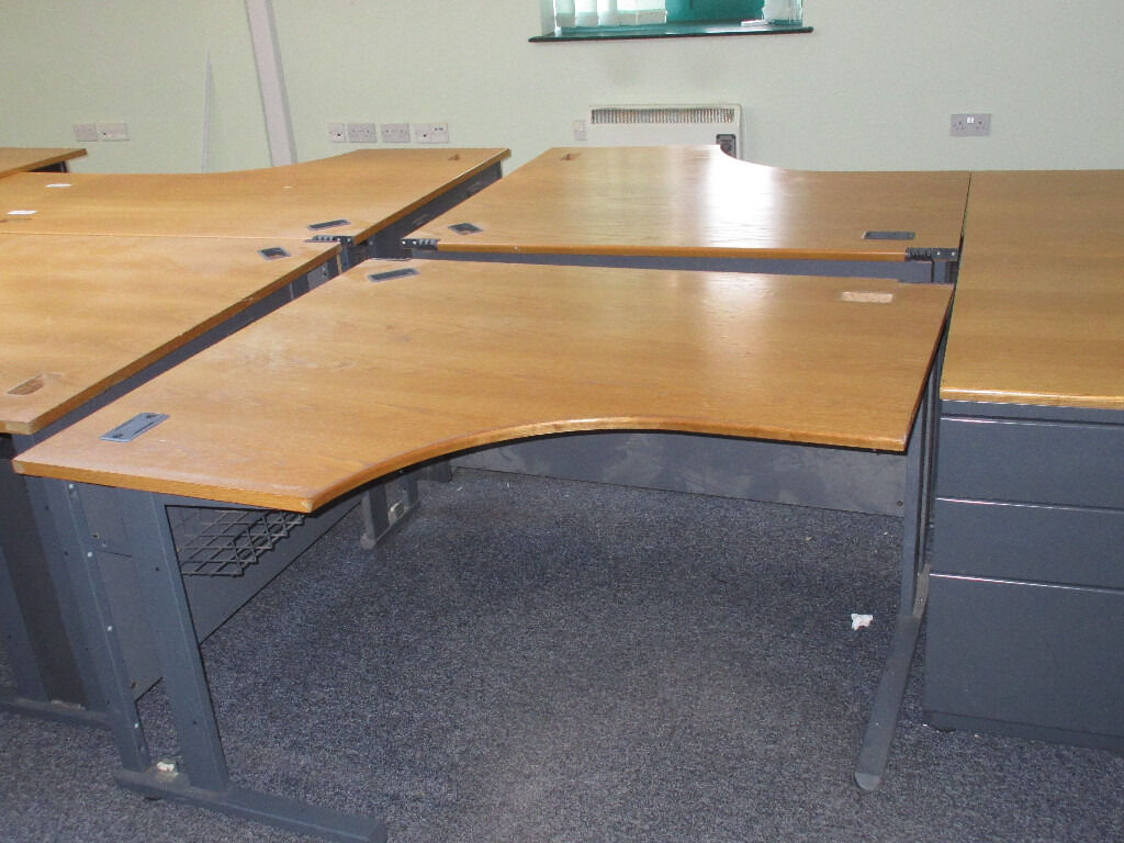 CURVED OFFICE DESKS + SAME HEIGHT METAL FILING CABINETS - 2 LEFT - £35 EACH