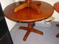 Circular Wooden Dining or Hallway Table on Pedestal Feet
