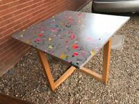Wood and grey square dining table