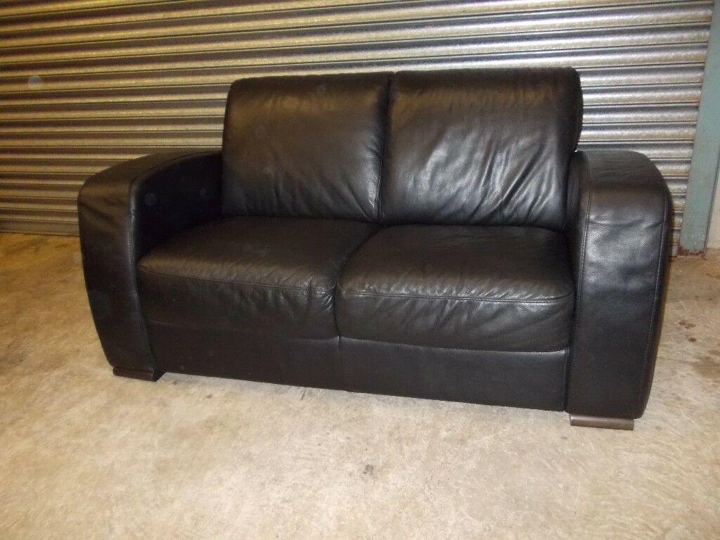 Natuzzi Black Leather 2 Seater Sofa Suite
