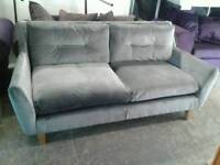 Ex display velvet 2 seater grey sofa only £169