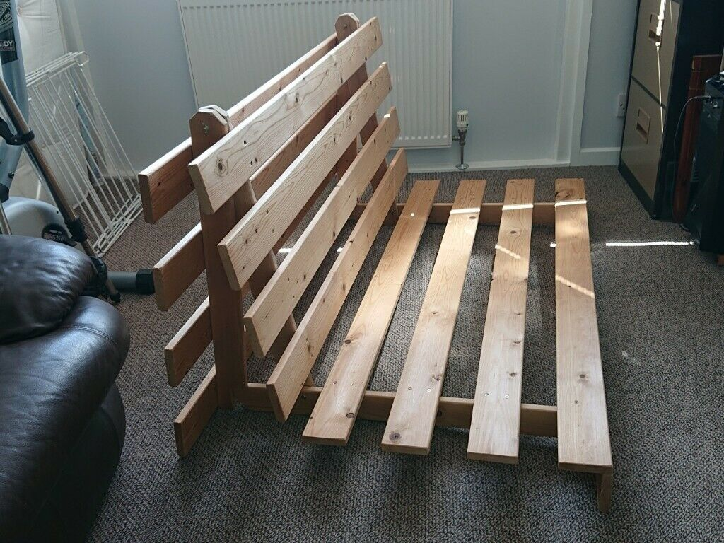 Wooden Futon Base Double Sofa Bed