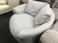 New/Ex Display Dfs Grey Cuddle, Swivel Sofa Chair