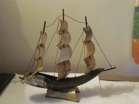 Ornamental sailing ship.