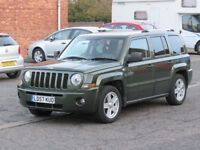 2007/57 Jeep Patriot ltd, 4x4 2.0l diesel (audi engine), rare colour, top spec car