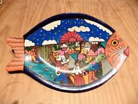 Mexican hand painted fish plaque