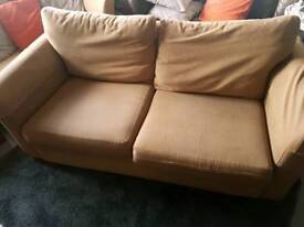 Clean, comfortable 2.5 seater fabric cover brown sofa