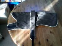 Fleece and suede adult whippet dog coat (new)
