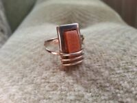 Ladies Silver Ring with Sand Stone