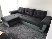 CORNER SOFA BED 'BLACK and GREY'