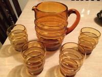 Vintage glasses and jug