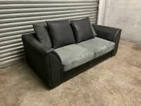 FREE DELIVERY GREY CORD FABRIC & BLACK 2 SEATER SOFA GOOD CONDITION
