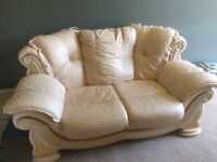 Leather and wood sofa