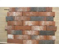 Brick tiles NF658 red/black white flamed, hand moulding