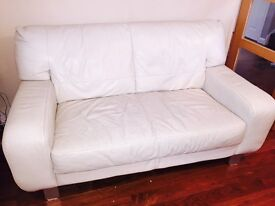 Cream leather sofa, 2 seater, good condition