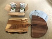 Brand New Kitchen items - Cath Kidson Mugs, wooden boards and Marble cheese board