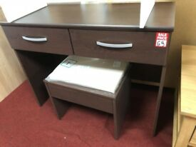 dark brown dressing table with stool