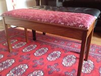 Double reupholstered duet piano stool with storage. Mahogany.