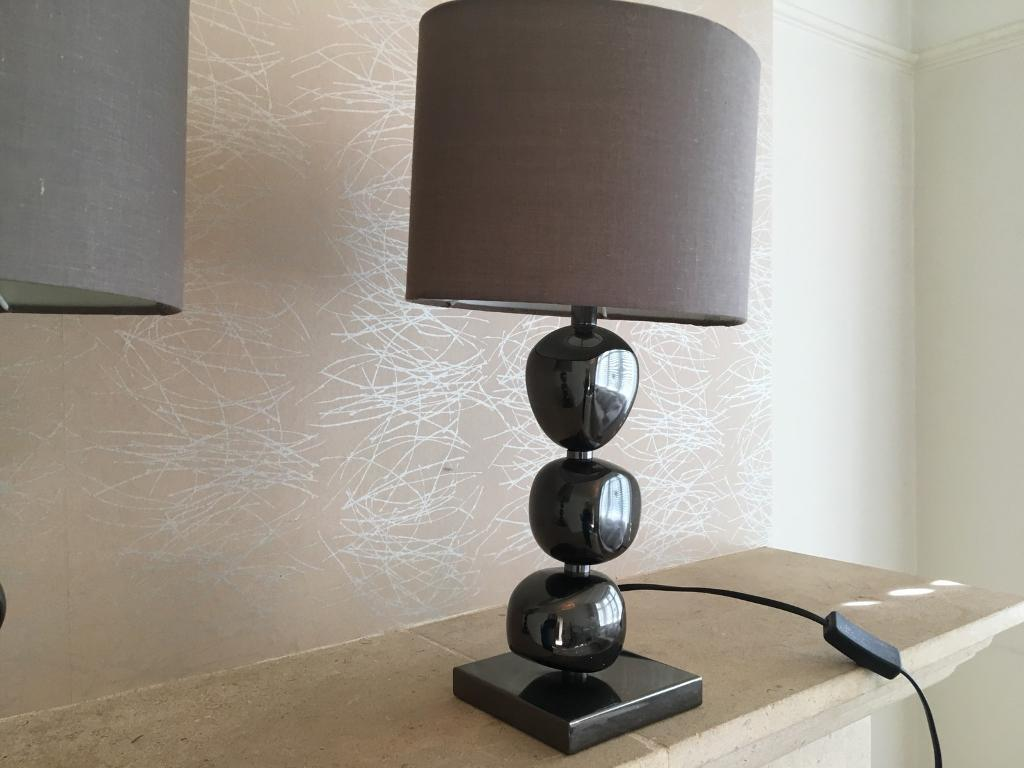 TWO chocolate coloured lamps