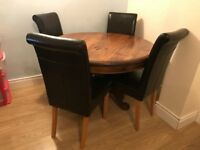Solid Oak Round Wooden Dining Table with 4 leather Dining Chairs