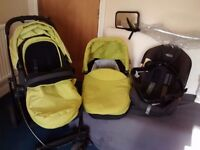 Graco Evo pushchair with carrycot and car seat + extras