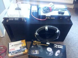 "FULL Audio Car Setup 12"" Audiobahn Sub, Kenwood Amp, Components, BASS"