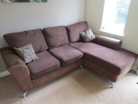 Corner Sofa, Cuddle Chair and footstool