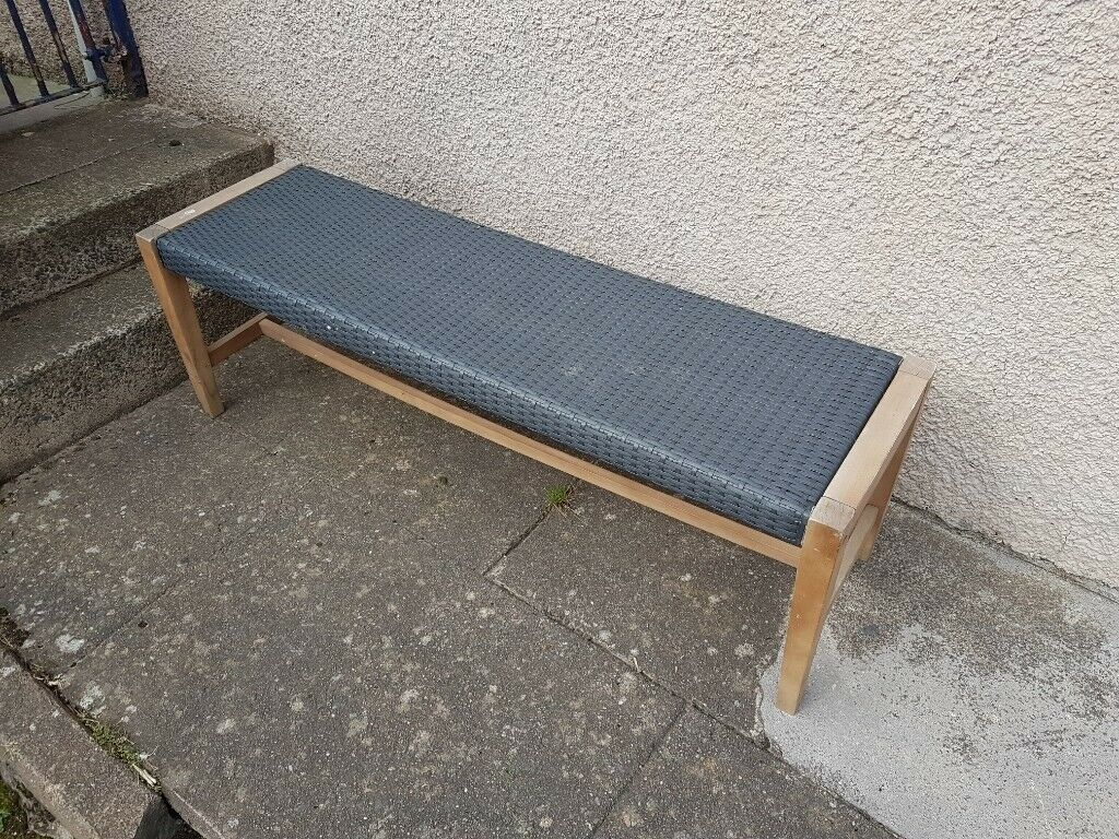 Rattan Wooden bench. One chipped leg (hence reduced price ...