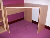 Corner Desk, beech effect, immaculate condition 100cm x 100cm