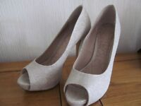 Next Occasions – High heeled, peep toe, silver sparkle shoes – size 5 - £10