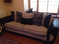 3/4 Seater sofa, armchair, large swivel chair and footstool
