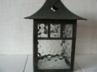 VINTAGE / RETRO METAL & GLASS LANTERN CEILING LIGHT SHADE