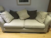 2x 3 seater smart cream & brown sofas
