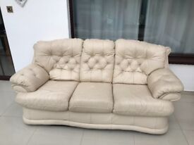 Cream 3 seater and 2 seater recliner