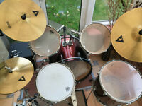 5 Piece drumKit plus cymbals: ideal starter kit £75