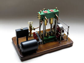 Stunning twin cylinder live steam marine engine and dynamo set up